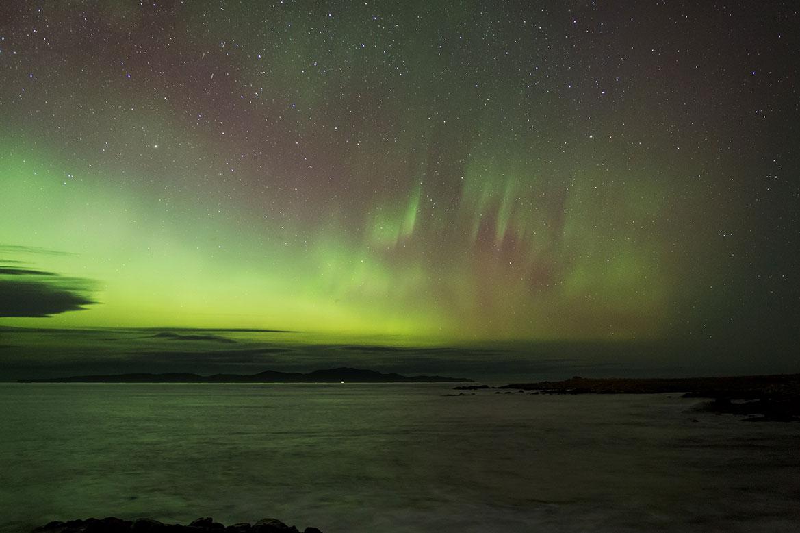 - ดูแสงเหนือ นิวซีแลนด์ Over Steward Island -